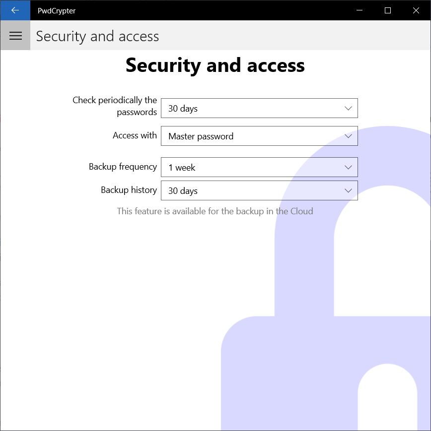 Security and access settings