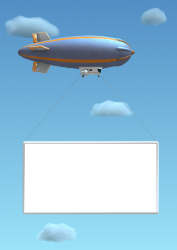 Empty 3D billboard hanged on a blimp