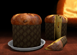 3D Panettone with an oven on the background