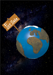 Earth for Sale on Starry Background